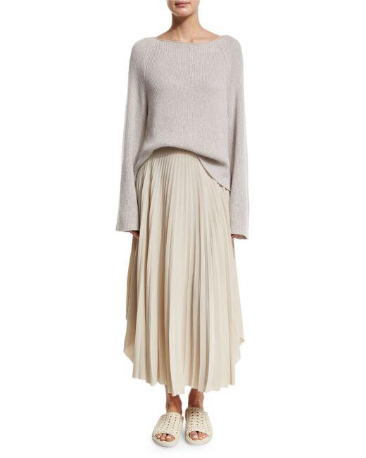 helmut lang pleated chiffon high waist midi skirt in beige