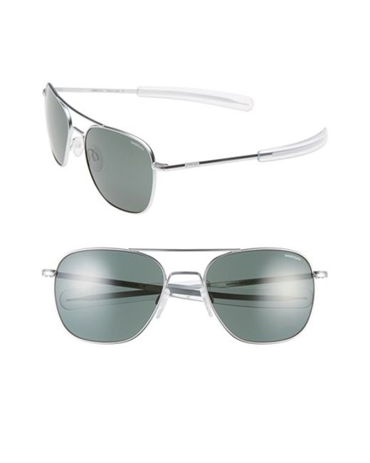 5dfaf777dee Randolph engineering 58mm Aviator Sunglasses in Silver (matte chrome)