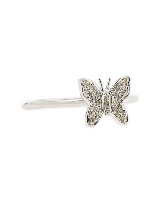 Sydney Evan | 14-karat White Gold Butterfly Ring With Pave Diamonds | Lyst