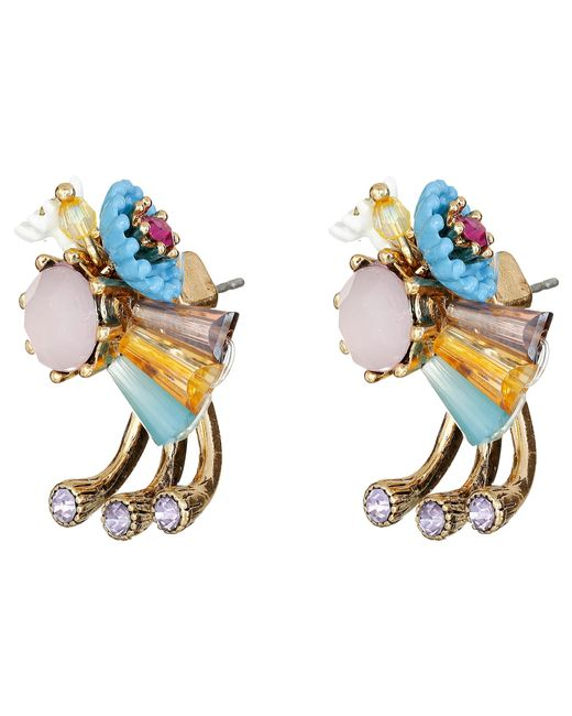 Betsey Johnson | Multicolor Weave And Sew Earrings | Lyst