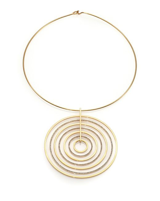 Michael Kors | Metallic Brilliance Statement Pave Pendant Collar Necklace | Lyst