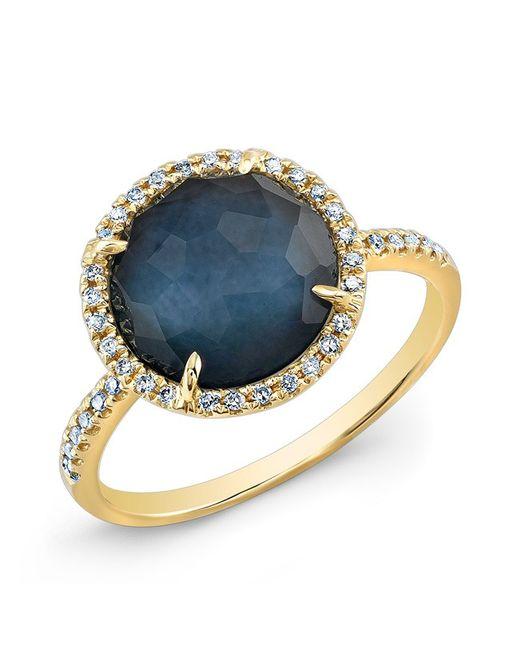 Anne Sisteron | Blue 14kt Yellow Gold Dark Azul Diamond Round Cocktail Ring | Lyst