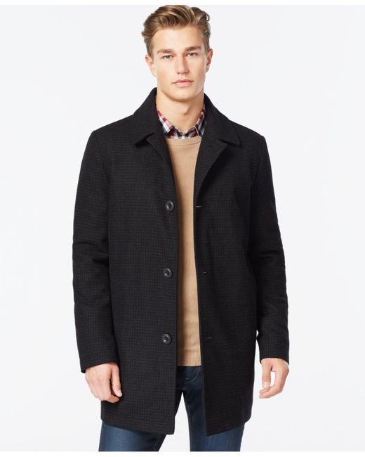 Kenneth Cole | Black Wool-blend Tweed Walker Coat for Men | Lyst