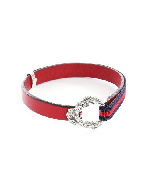 Gilbert Gilbert | Blue Hen 11 Red Leather Adjustable Bracelet for Men | Lyst