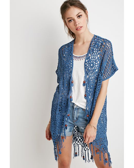 Forever 21 | Blue Beaded Tassel Crochet Cardigan | Lyst