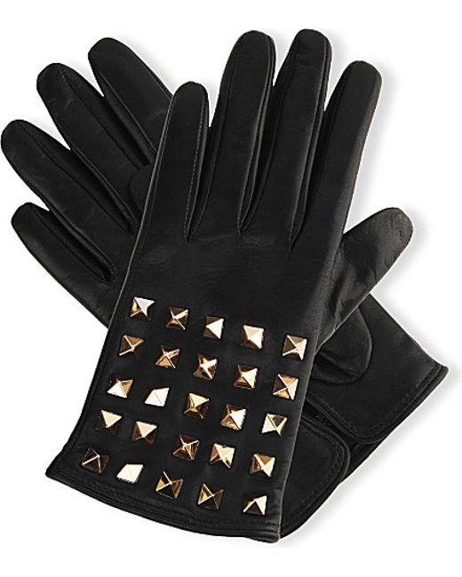 Valentino   Black Studded Leather Gloves   Lyst