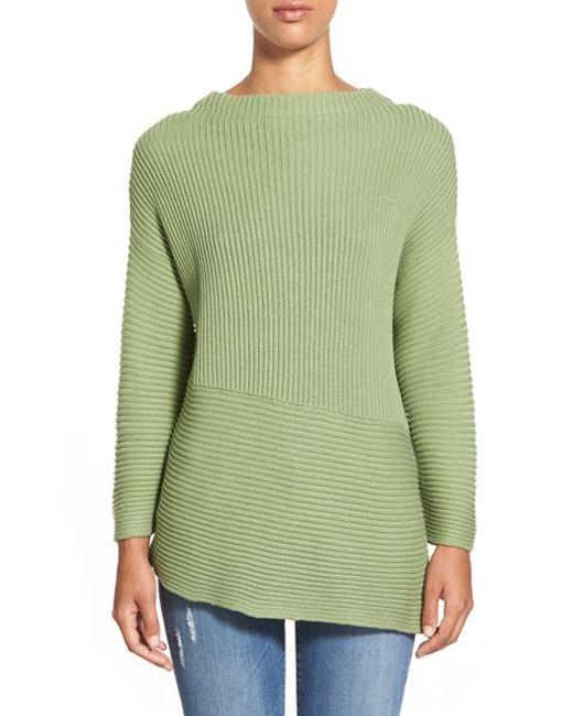 Vince Camuto   Green Asymmetrical Hem Crewneck Sweater   Lyst