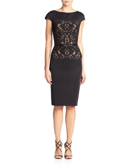tadashi shoji belted lace bodice sheath dress in black