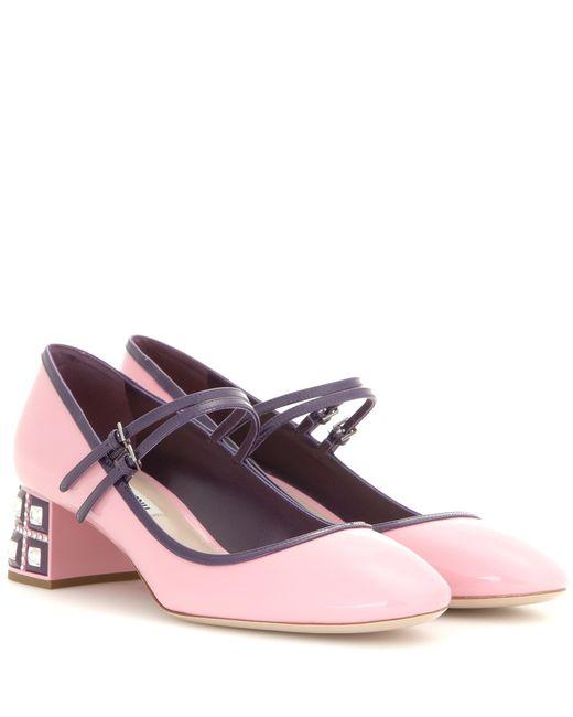 Miu miu Embellished Mary-Jane Pumps in Pink - Save 30%   Lyst