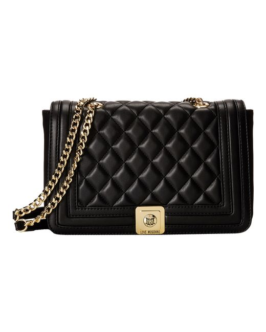 Love Moschino | Black Quilted Flap Vers Crossbody Bag | Lyst