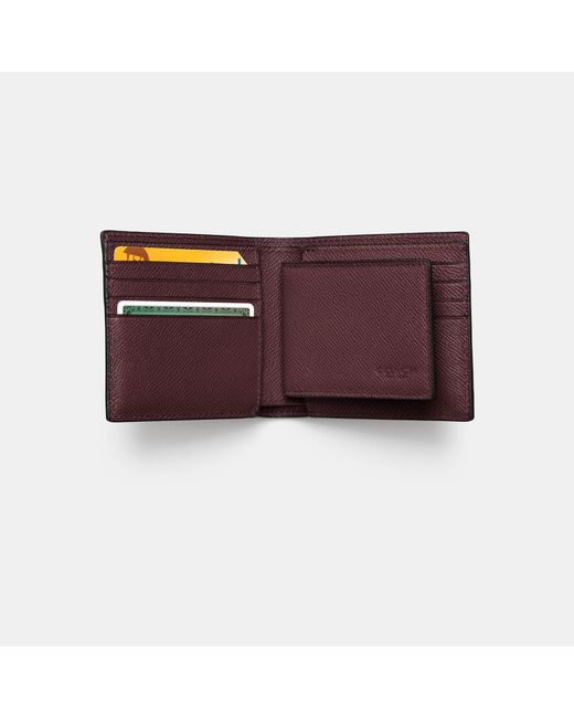 COACH | Purple Compact Id Wallet In Crossgrain Leather for Men | Lyst