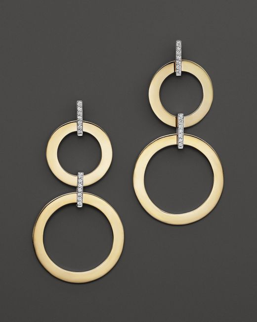 Roberto Coin   Metallic 18k Yellow And White Gold Diamond Round Drop Earrings   Lyst