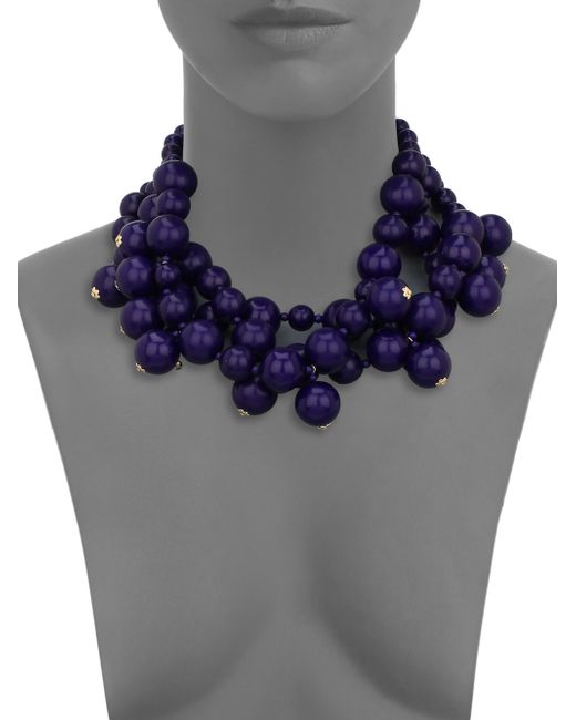 Kenneth Jay Lane   Blue Beaded Statement Necklace   Lyst