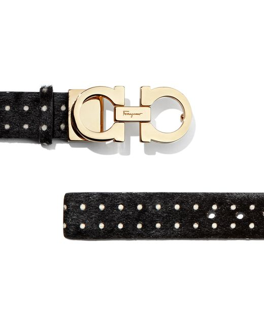 Ferragamo Double Gancio Belt in Black (Black/White) | Lyst