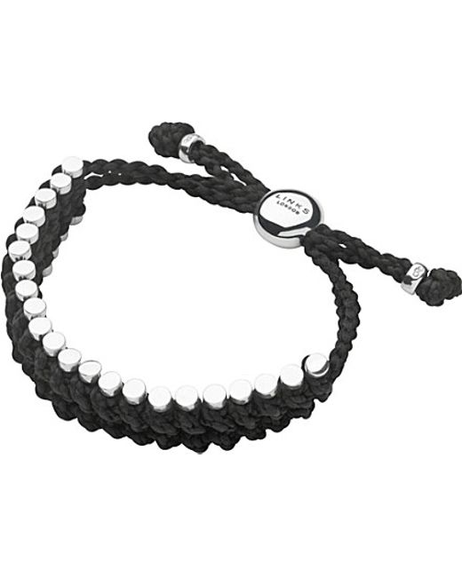 Links of London | Sterling Silver And Black Rope Friendship Bracelet | Lyst