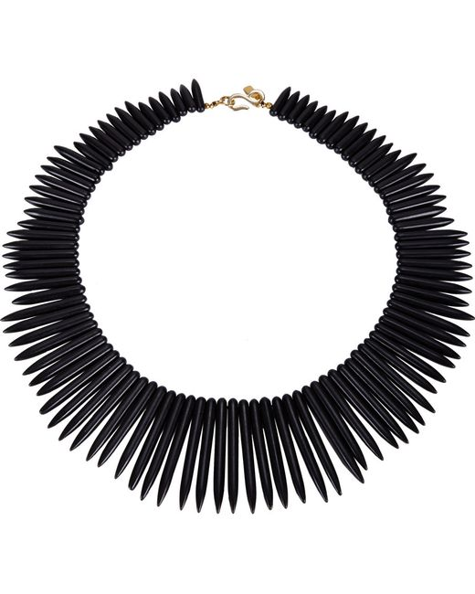 Kenneth Jay Lane | Metallic Graduated Spike Collar Necklace Black | Lyst