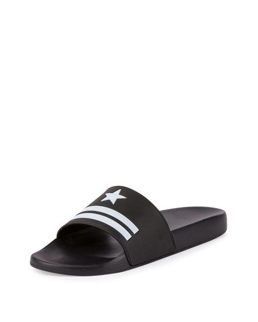 Givenchy Star Amp Stripe Rubber Slide Sandals In Black For