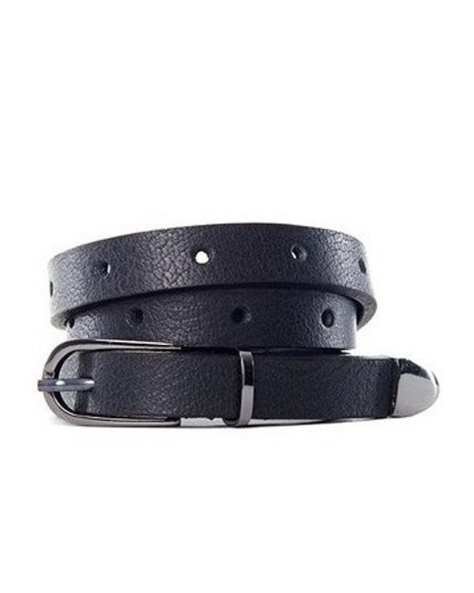 anine perforated leather belt gunmetal in gray lyst