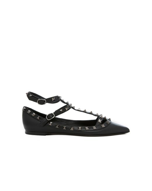 Valentino Rockstud Noir Leather Cage Flats In Black Save