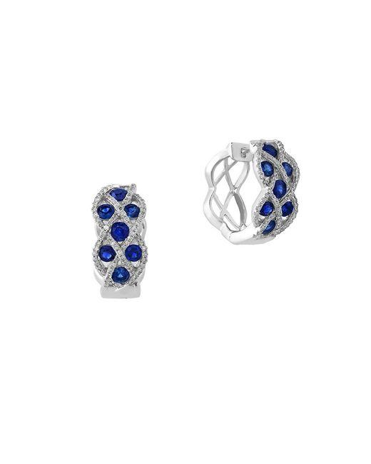 Effy | Blue Royale Bleu Sapphire, Diamond And 14k White Gold Lattice Hoop Earrings | Lyst