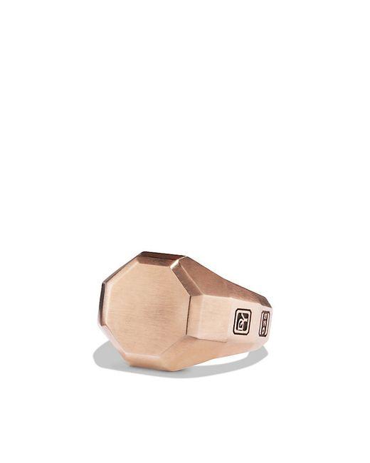 David Yurman   Pink Faceted Metal Signet Ring With 18k Rose Gold for Men   Lyst