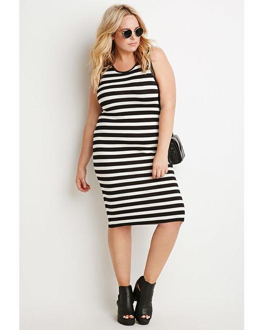 Forever 21 | Black Plus Size Striped Midi Dress | Lyst