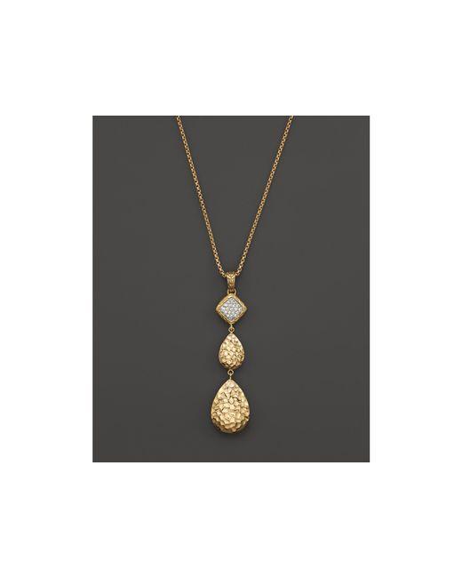 "John Hardy | Metallic 18k Gold Palu Pave Diamond Long Pendant Necklace, 16"" | Lyst"