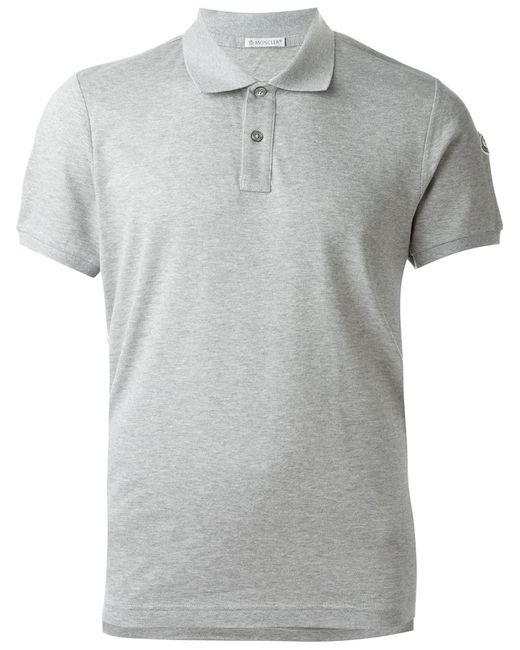 Moncler classic polo shirt in gray for men grey lyst for Moncler polo shirt sale