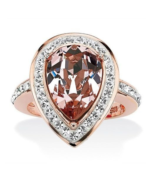 palmbeach jewelry pear cut rose crystal cocktail ring made with swarovski elements rose gold. Black Bedroom Furniture Sets. Home Design Ideas