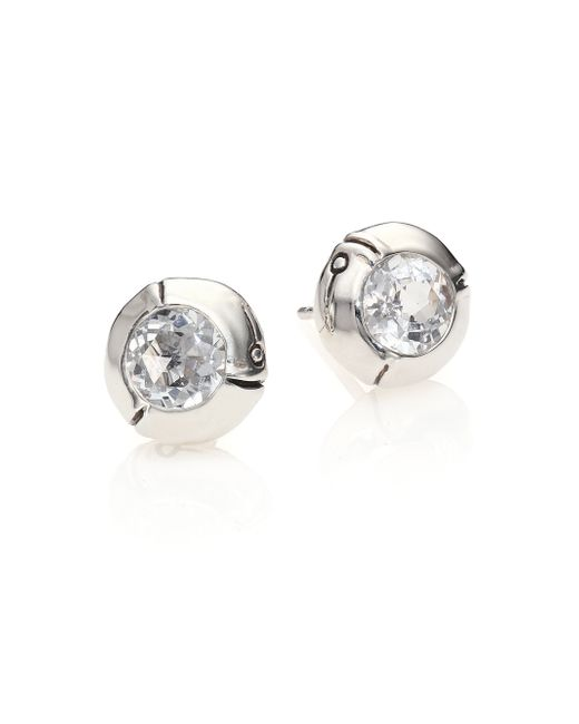 John Hardy | White Bamboo Sterling Silver Stud Earrings | Lyst