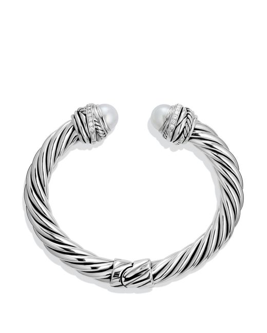 David Yurman | Metallic Cable Classic Crossover Bracelet With Pearls And Diamonds, 8.5mm | Lyst