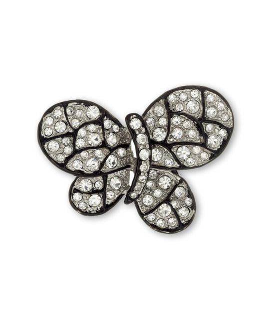 Kenneth Jay Lane | Black Crystal Butterfly Brooch | Lyst