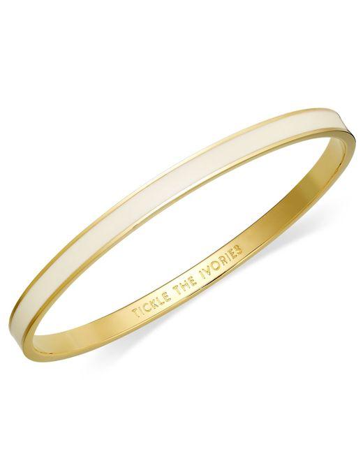 kate spade new york | Metallic Bracelet, 12k Gold-plated Cream Enamel Tickle The Ivories Idiom Bangle Bracelet | Lyst