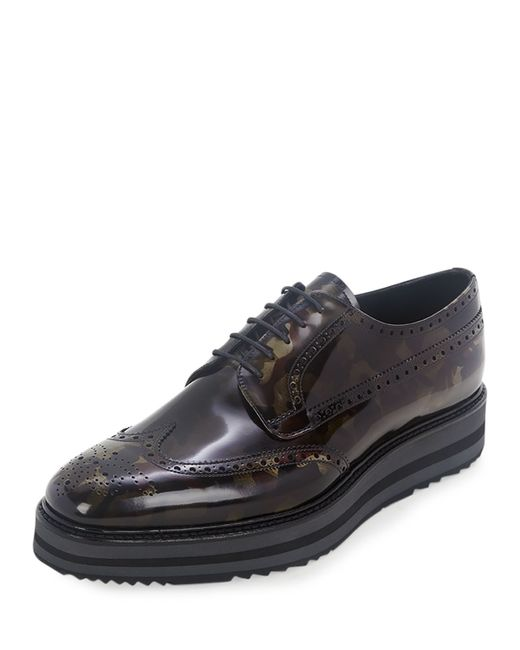 8d9e0c5b9d8 Prada Camouflage-Print Wing-Tip Derby Shoes in Green .