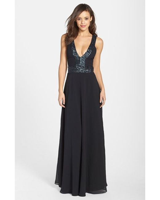 Dress the Population   Black Delani Sequined Crepe Gown   Lyst