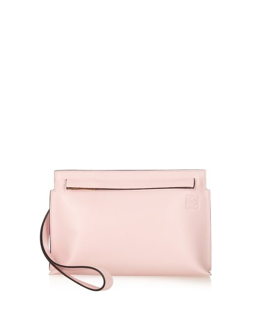 Loewe | Pink Small Wristlet-strap Leather Pouch | Lyst