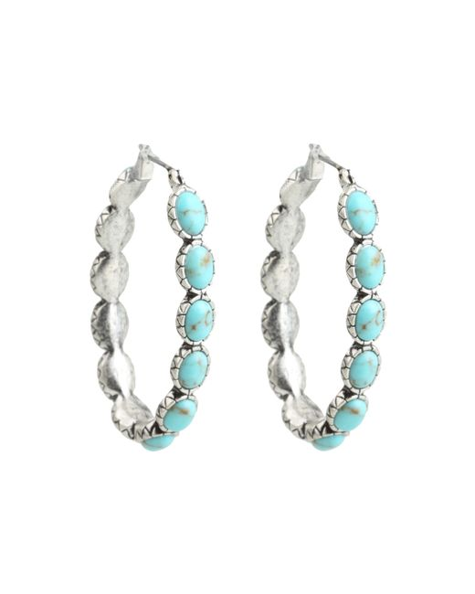 Lucky Brand | Blue Oblong Turquoise Inlay Hoop Earring | Lyst