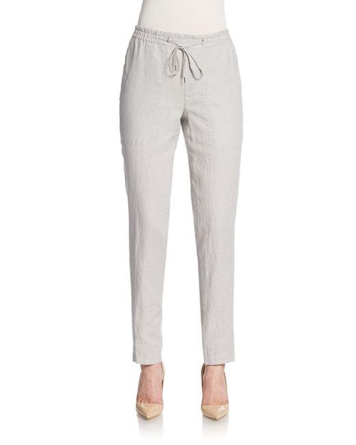 VINCE   White Linen Drawstring Pants   Lyst