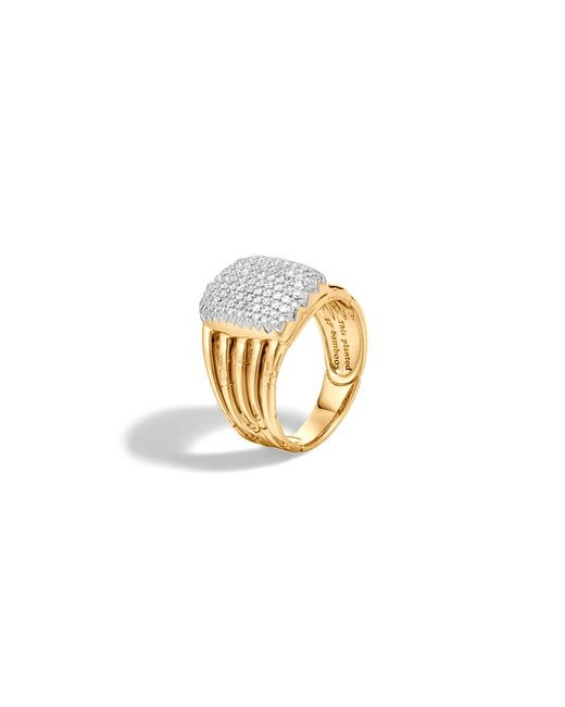 John Hardy | Metallic Bamboo 18k Yellow Gold Diamond Pave Five Row Ring | Lyst
