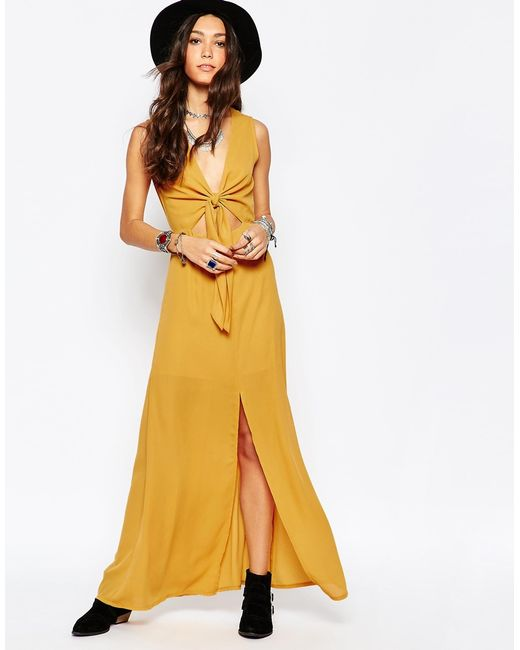 Wyldr | Yellow Bow Front Maxi Dress | Lyst