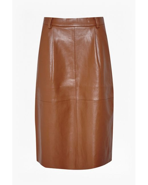 French Connection | Brown Patrice Faux Leather Skirt | Lyst