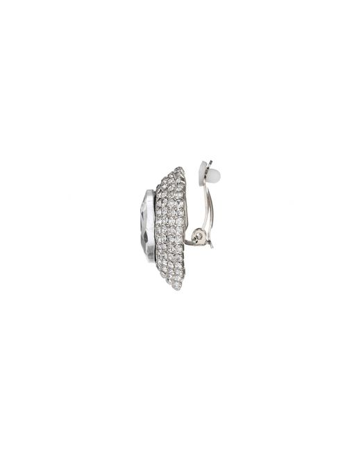 Mikey | White Oval Crystal Marquise Clip On Earring | Lyst
