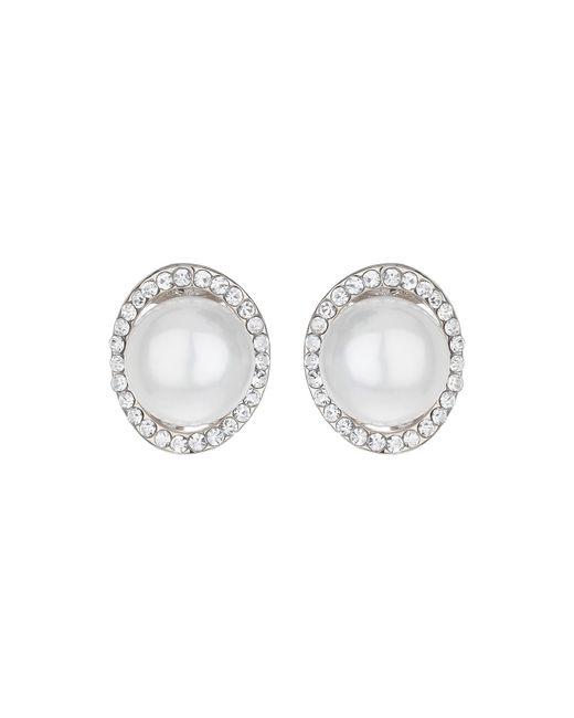Mikey | Metallic Hoop Crystal Pearl Stud Earring | Lyst
