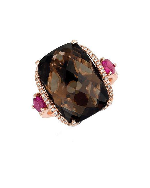 Smoky Quartz And Brown Diamond Ring