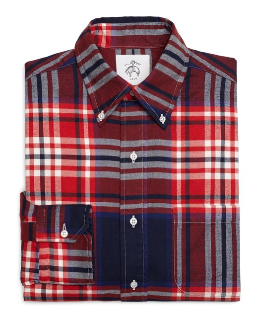 Brooks brothers red white and navy plaid button down shirt for Red and white button down shirt
