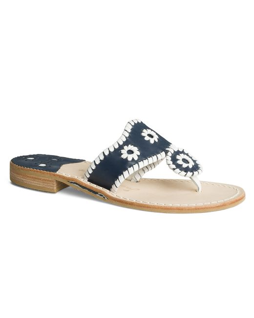 Jackie Kennedy Shoes: Jack Rogers Wide Palm Beach Sandal In Black (Navy / White