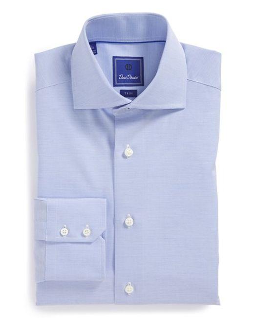 David Donahue 39 Royal 39 Trim Fit Solid Dress Shirt In Blue