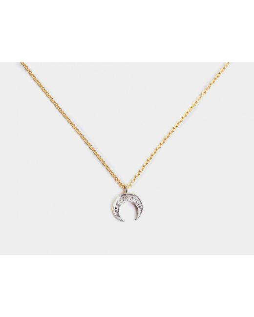 i+i | Metallic Crescent Moon Diamond Necklace | Lyst