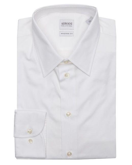 Armani White Stretch Cotton Blend Point Collar Dress Shirt