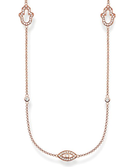 Thomas Sabo | Pink Fatima's Garden 18ct Rose-gold Plated Sterling Silver And Pavé Zirconia Station Necklace | Lyst
